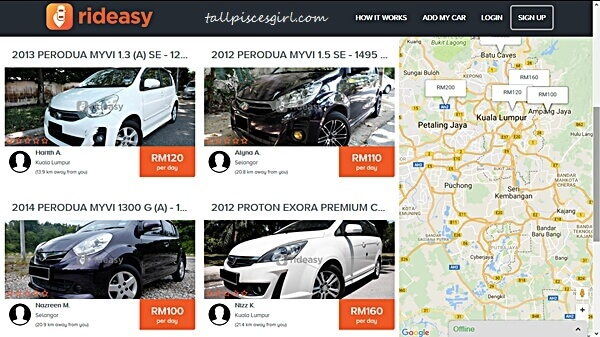 Borrow a car via Rideasy