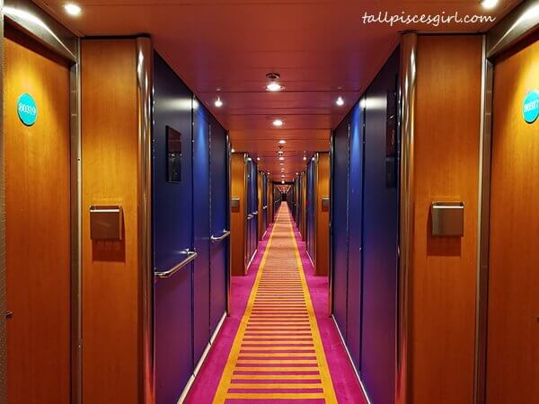 Corridor leading to cruise cabin in Costa Victoria