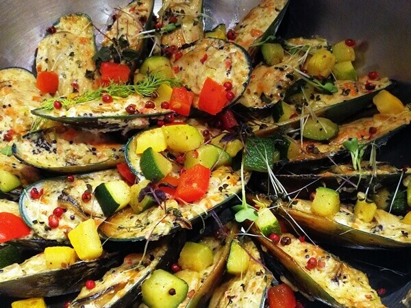 BBQ Green Shell New Zealand Mussels with Sauteed Brunoise Vegetables