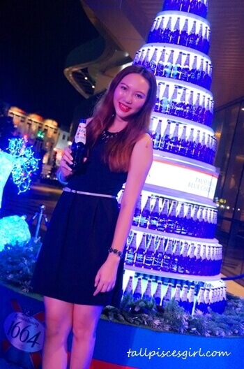 Magnificent blue Christmas tree made entirely out of Kronenbourg 1664 Blanc blue bottles