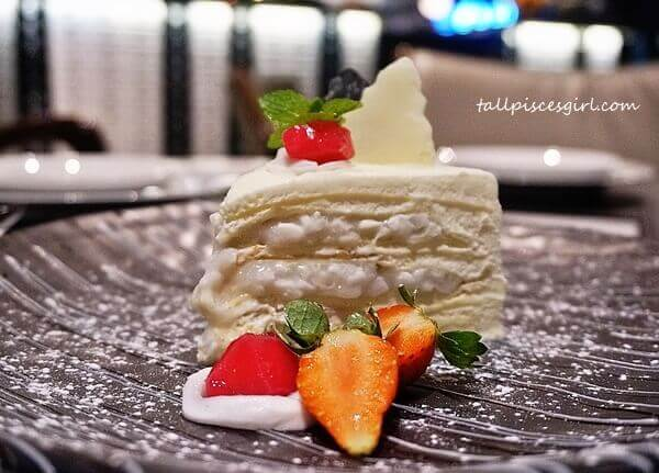Dessert: Greyhound's Signature Coconut Crepe Cake Served with Berries & Red Ruby