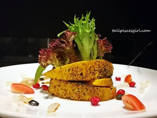 Starter: Grilled Yellow Pumpkin with Sesame Tsoyu Dressing on Mixed Lettuce & Pomegranate Seed
