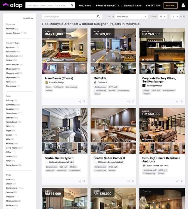 Hire Trustable Interior Designers in Malaysia via Atap.co