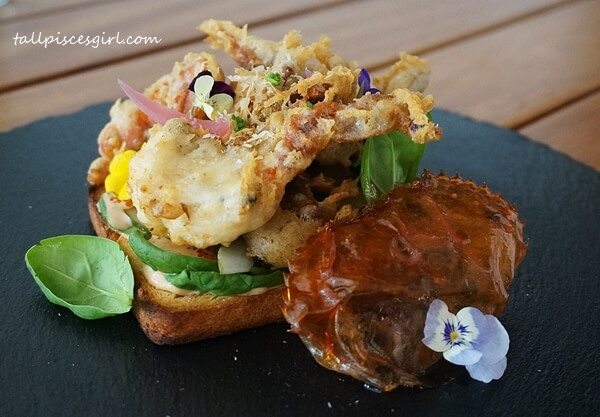 Seaweed Tempura Soft Shell Crab Open Sandwich