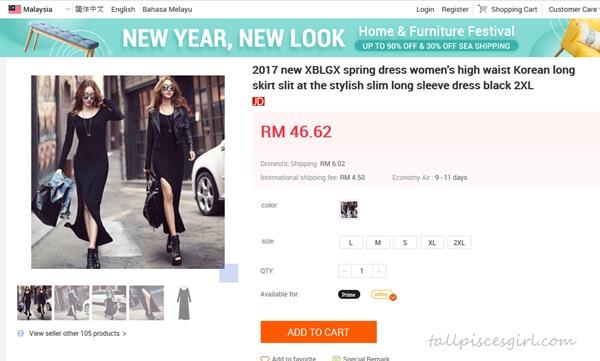 Long Korean Slit Dress from JD.com