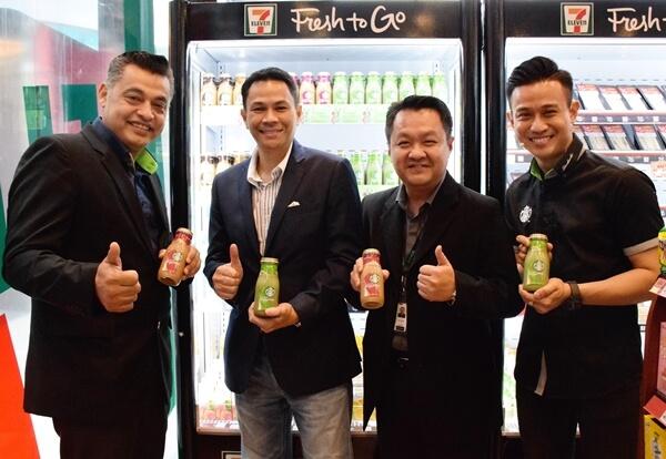 L-R: Mr. Sydney Quays, CEO of Berjaya Food Berhad, YBhg Dato' Tunku Shazuddin, Chairman of Berjaya Food Berhad, Mr. Kelvin Lee, Senior Merchandising Manager of 7-Eleven Malaysia Sdn Bhd, Mr. Jordan Lung, Senior Business Manager (CPG) of Berjaya Food Trading Sdn Bhd.