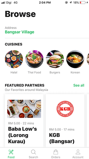 1. Browse from the list of available restaurants