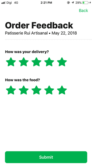 6. After getting your delivery, rate your delivery and food