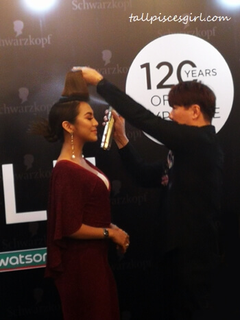 Celebrity Actress Mawar Rashid getting a quick hairdo using Schwarzkopf products
