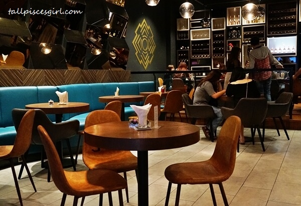 Comfortable teal and brown colored leather seating @ MANDALA Publika