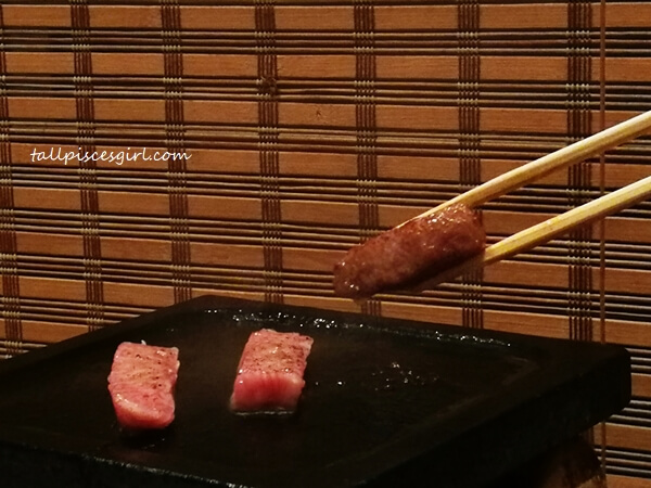 Hot stone grilled Wagyu beef