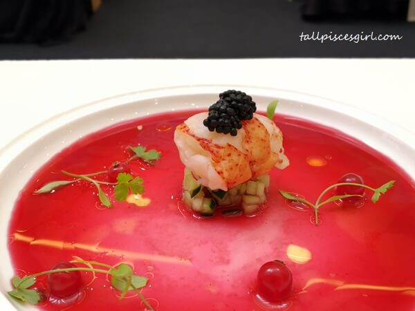 Poached Lobster (Seaweed sauce, red currant, smoked herring caviar) by Chef Mohd Radzuan Hamzah, The Olive