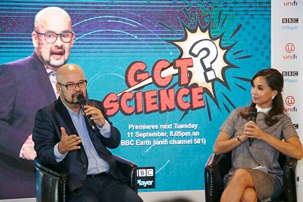 Harith Iskander speaking with Daphne Iking on BBC Earth TV show, Got Science