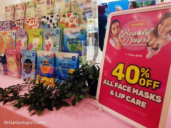 40% off all face masks & lip care from 1 - 4 November at Guardians Malaysia