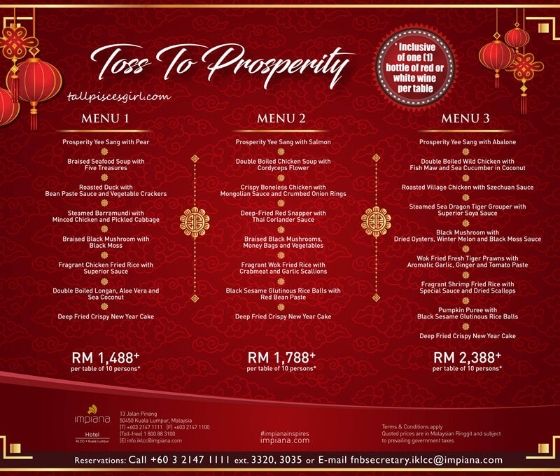 Impiana KLCC Chinese New Year Menu (Banquet)