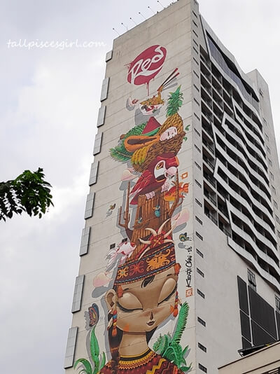 The Sleeping Dayak Girl Mural drawn by Kenji Chai