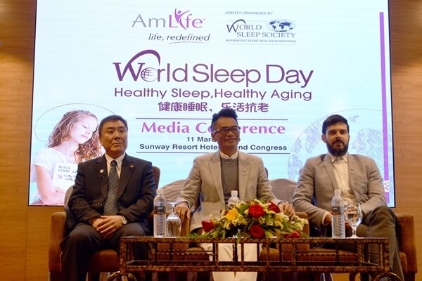 Dr. Koyabu Miki, Mr. Lew Mun Yee and Dr. David Samson at AmLife World Sleep Day media event