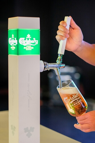 New Carlsberg Betterments - The new Carlsberg stem glasses come engraved with a hop leaf-shaped nucleation stamp at the bottom