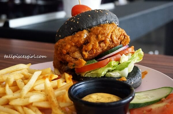 Chicken Rendang Burger with Fries