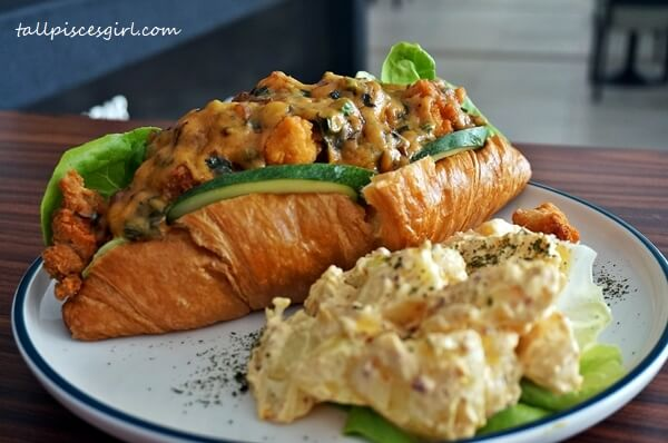 Chicken Sausage Croissant with Salted Egg and Potato Salad