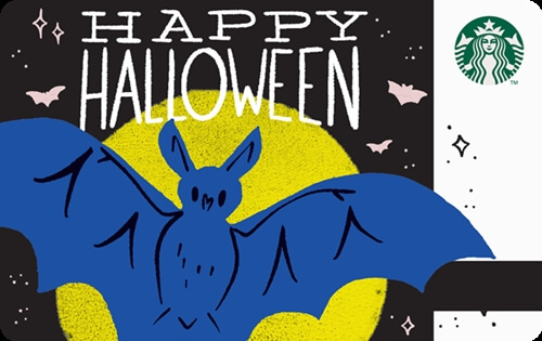 Happy Halloween Bat Starbucks Card