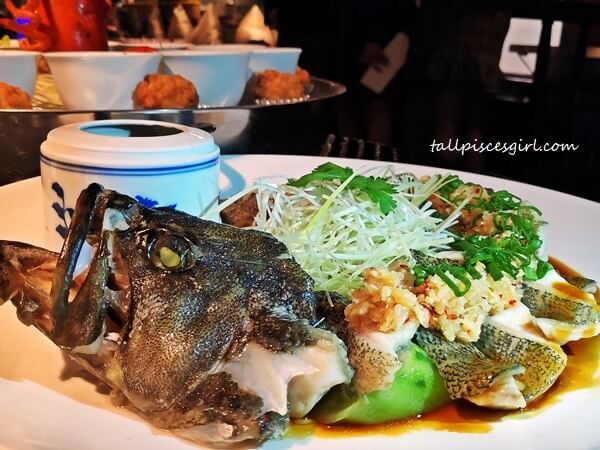 Signature Steamed Coiling Dragon Grouper with Golden Garlic Sauce