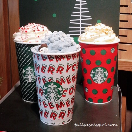 Starbucks Holiday French Vanilla Latte, Starbucks Toffee Nut Crunch Latte, Starbucks Peppermint Mocha