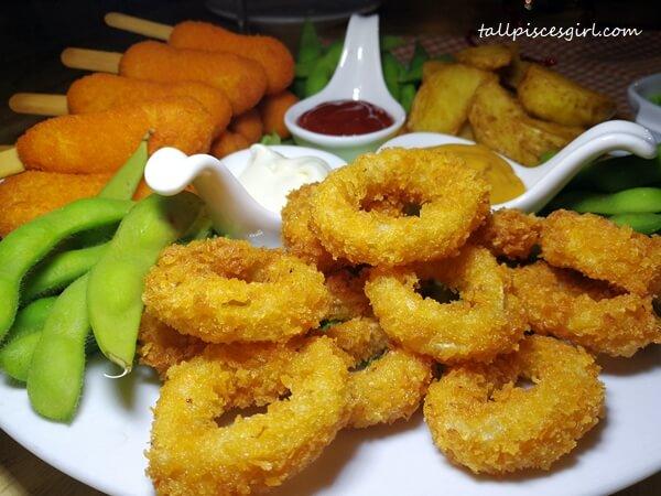 Calamari Rings (RM 18), Potato Wedges (RM 15), Edamame (RM 10)