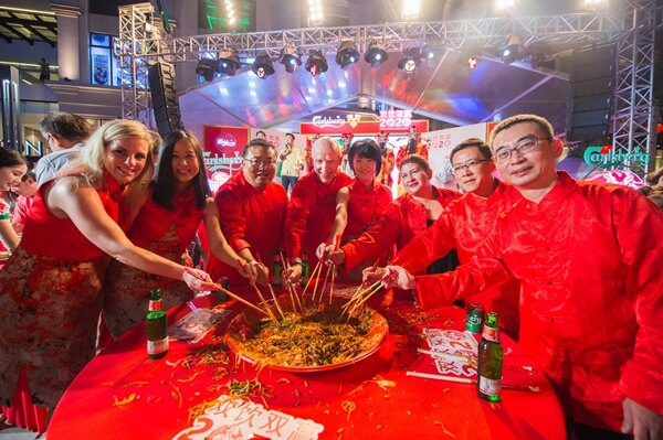 In true Chinese tradition to usher the Lunar New Year, the Carlsberg management team participated in Probably The Best Yee Sang Toss