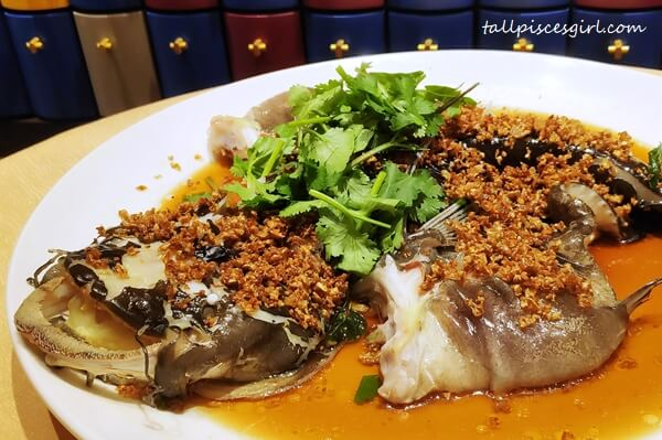 Steamed Live River Tapah Fish with Crispy Radish, Bird's Eye Chili and Supreme Soy Sauce