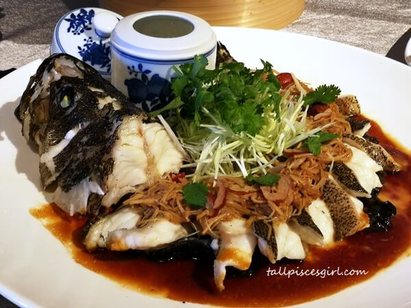 The Steamed Dragon Grouper with Fungus and Enoki Mushroom