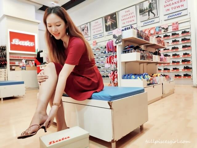 Trying on my CNY shoes at Bata