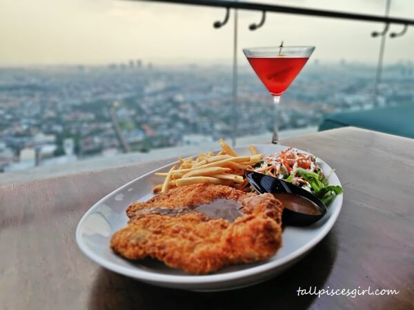 Deep Fried Breaded Chicken Chop with Fresh Greens and Fries (RM 42)