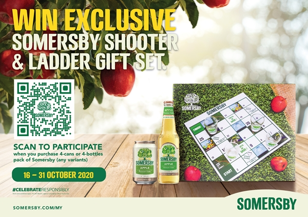 Win an exclusive Somersby Shooter & Ladder gane set with any purchase of Somersby 4-can pack at just RM19.90