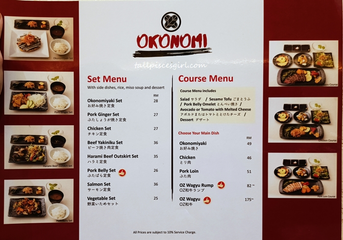 Okonomi Set Menu and Course Menu
