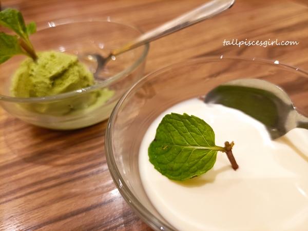 Panna Cotta and Matcha Ice Cream