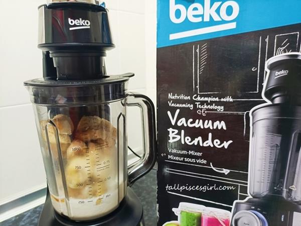 Preparing to blend banana smoothie