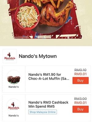 Nando's Deal and Cashback on ShopeePay